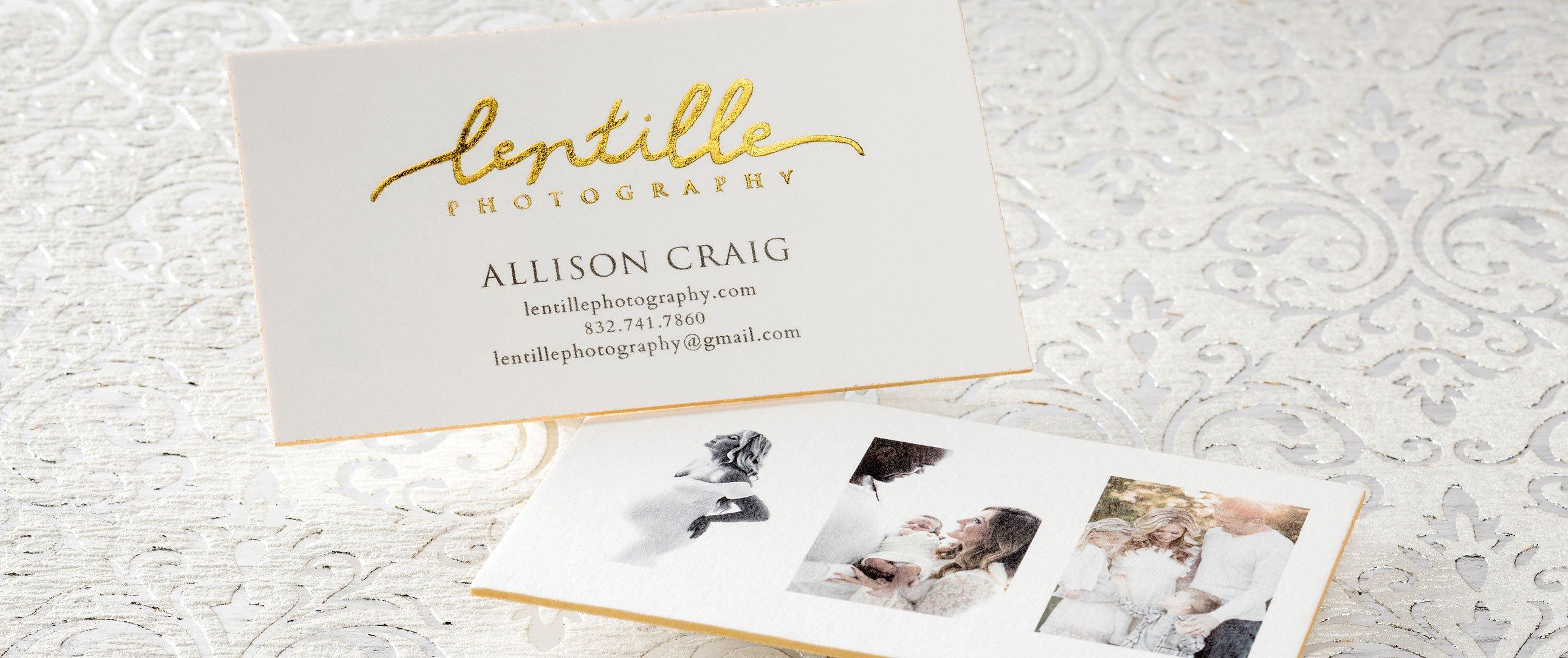 Lentille Photography letterpress card with foil edges